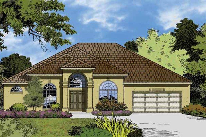 Architectural House Design - Mediterranean Exterior - Front Elevation Plan #1015-16