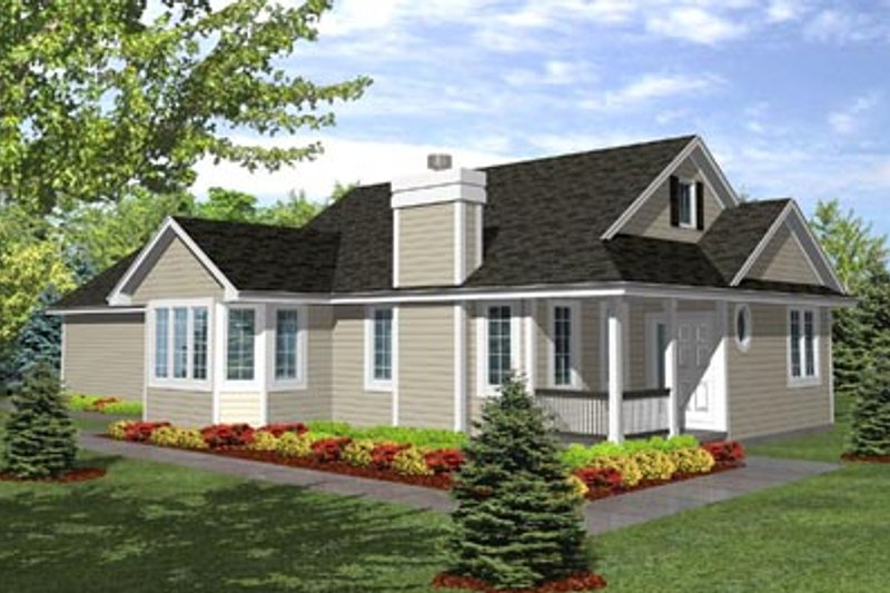 Traditional Style House Plan - 3 Beds 2 Baths 1548 Sq/Ft Plan #50-116 Exterior - Front Elevation