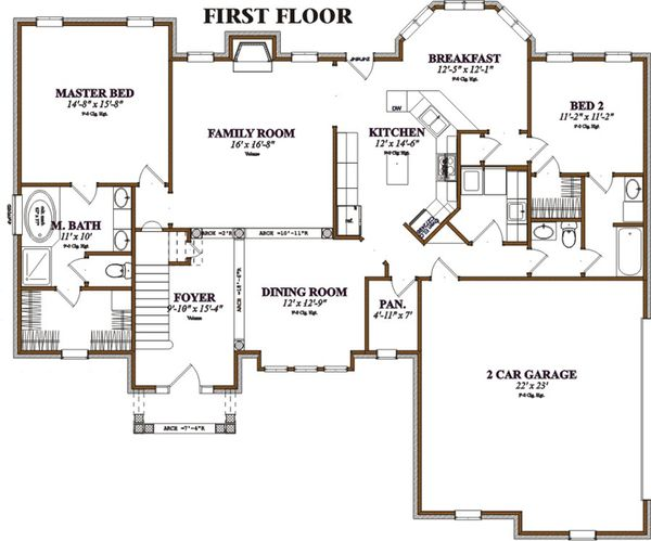 Southern Floor Plan - Main Floor Plan Plan #63-106