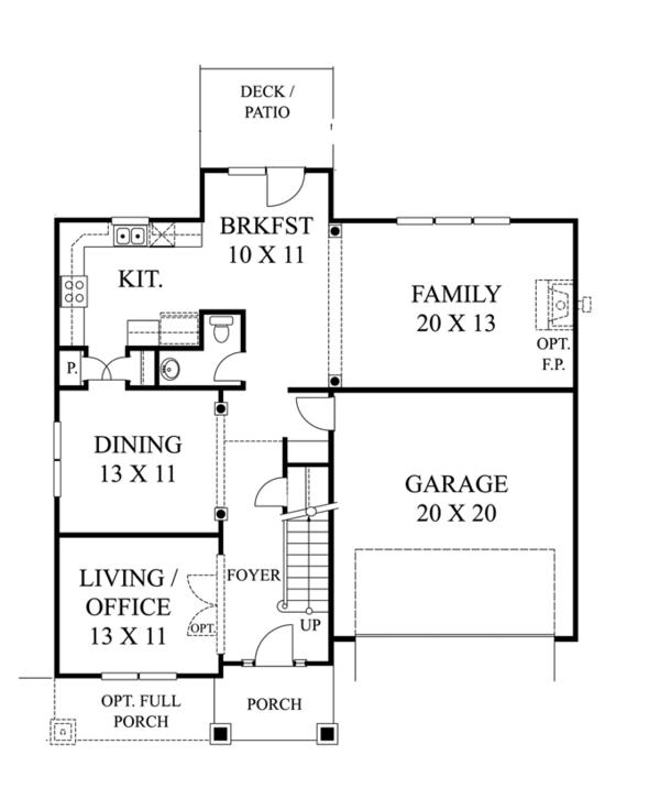 Colonial Floor Plan - Main Floor Plan Plan #1053-45
