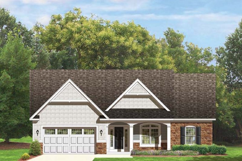 Ranch Exterior - Front Elevation Plan #1010-43