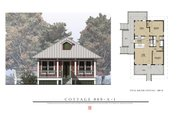 Beach Style House Plan - 2 Beds 1 Baths 869 Sq/Ft Plan #536-2 Exterior - Front Elevation