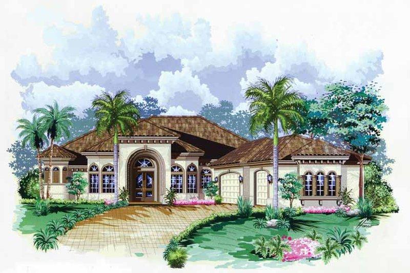 Dream House Plan - Mediterranean Exterior - Front Elevation Plan #1017-28