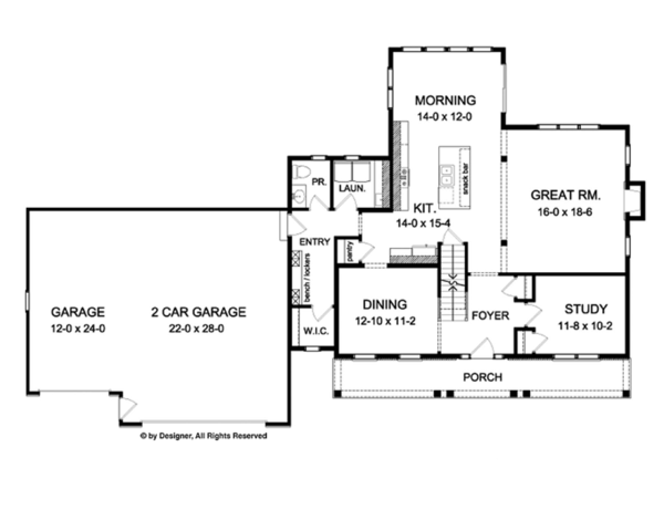 Colonial Floor Plan - Main Floor Plan Plan #1010-59