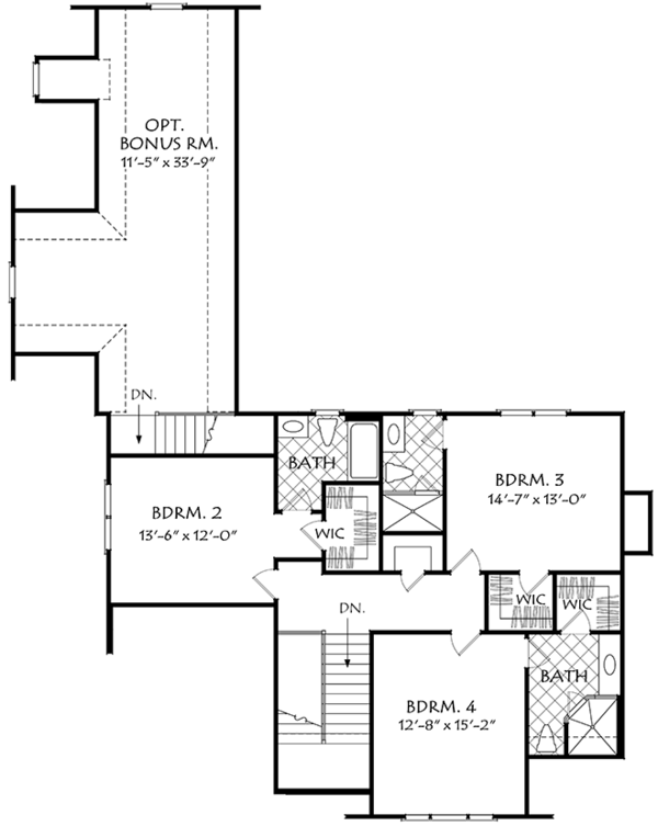Farmhouse Floor Plan - Upper Floor Plan Plan #927-978