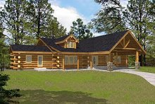 Home Plan - Log Exterior - Front Elevation Plan #117-506