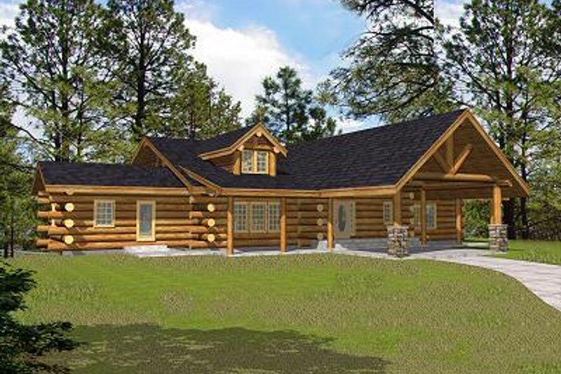 Log Exterior - Front Elevation Plan #117-506 - Houseplans.com