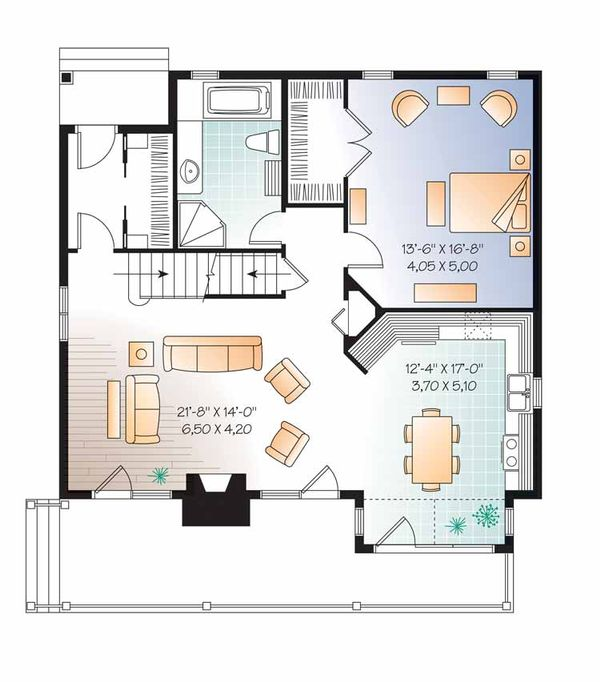 European Floor Plan - Main Floor Plan Plan #23-2513