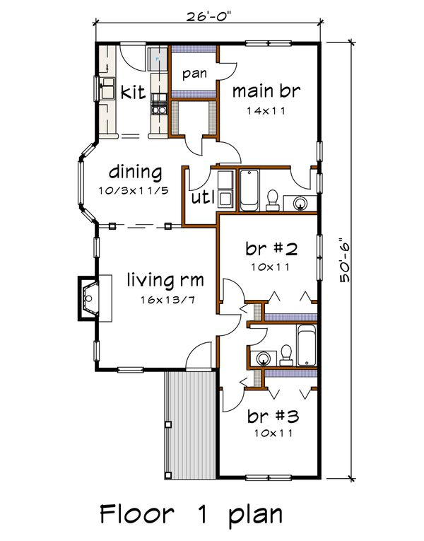 Cottage Floor Plan - Main Floor Plan #79-137