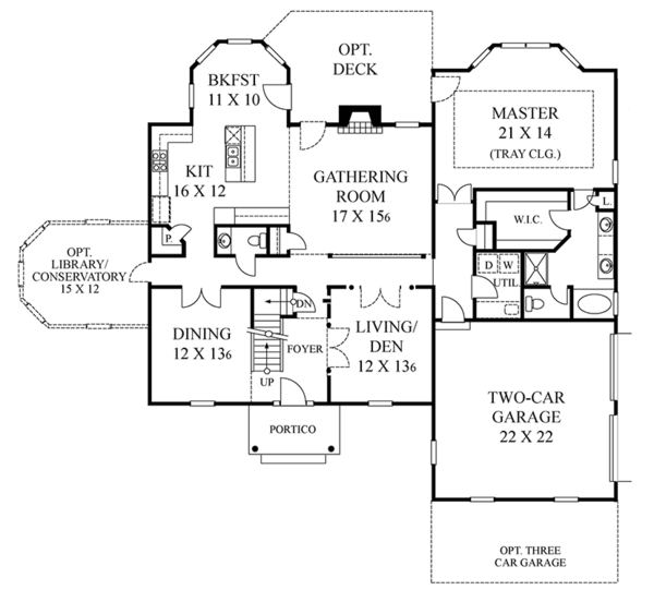Classical Floor Plan - Main Floor Plan Plan #1053-62