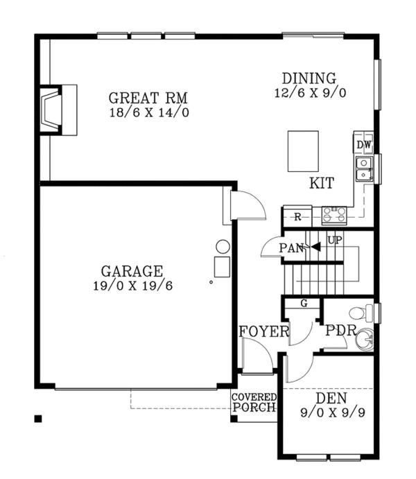 Country Floor Plan - Main Floor Plan Plan #53-580