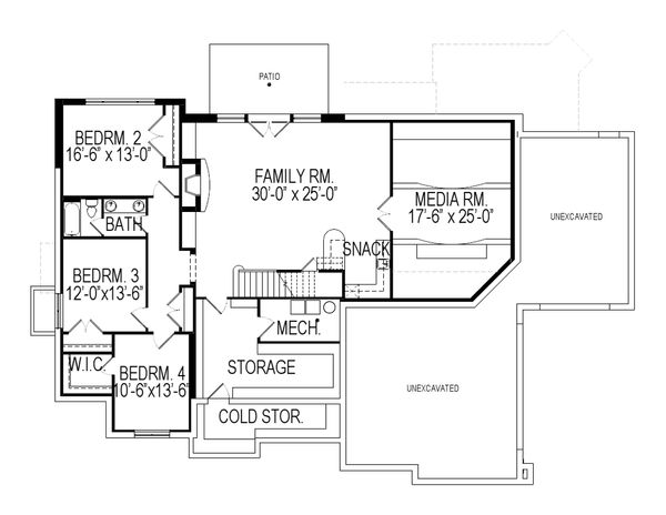 Architectural House Design - Traditional Floor Plan - Lower Floor Plan #920-19