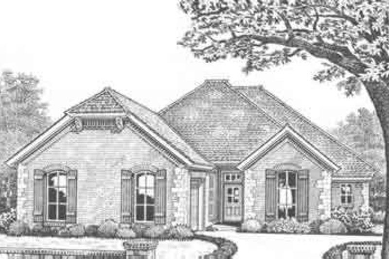 European Style House Plan - 3 Beds 2.5 Baths 2110 Sq/Ft Plan #310-314 Exterior - Front Elevation