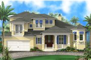 Beach Style House Plan - 3 Beds 3.5 Baths 4920 Sq/Ft Plan #27-514 Exterior - Front Elevation