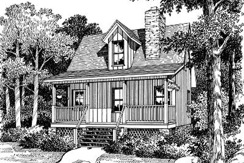 Cottage Style House Plan - 1 Beds 1 Baths 704 Sq/Ft Plan #417-101 Exterior - Front Elevation