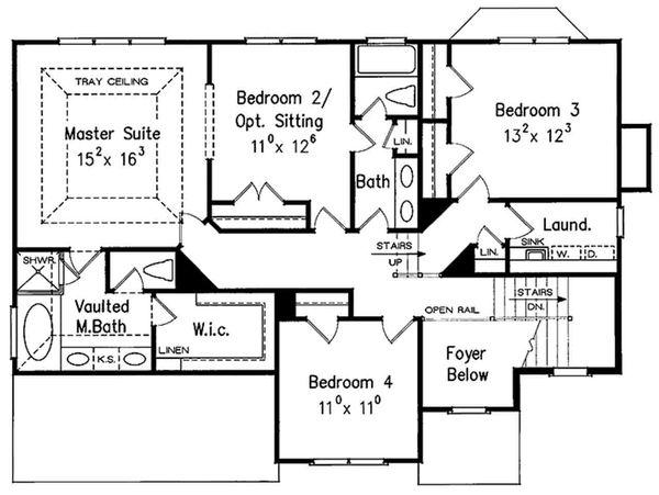 Colonial Floor Plan - Upper Floor Plan #927-21