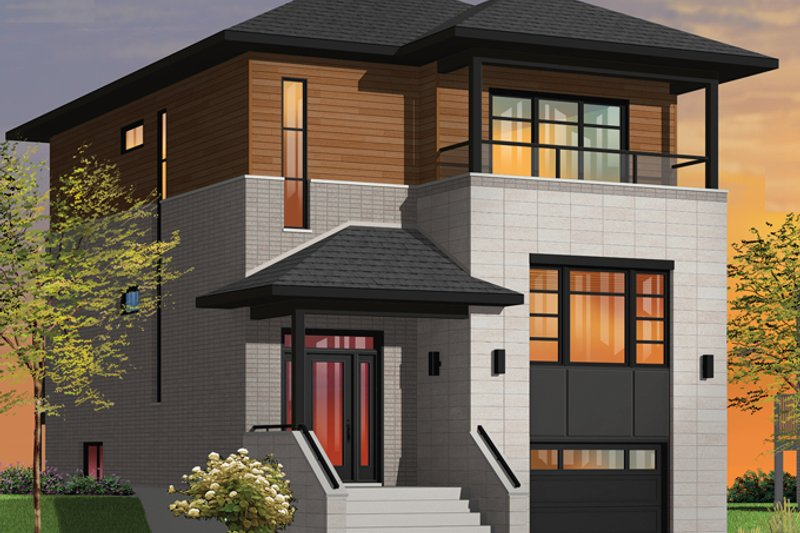 Architectural House Design - Contemporary Exterior - Front Elevation Plan #23-2584