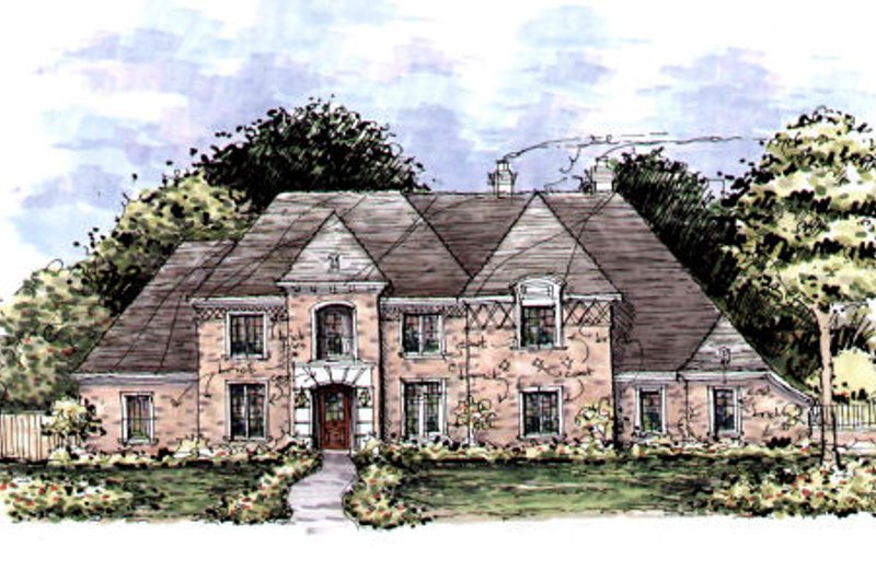 European Style House Plan - 5 Beds 6.5 Baths 5694 Sq/Ft Plan #141-311 Exterior - Front Elevation