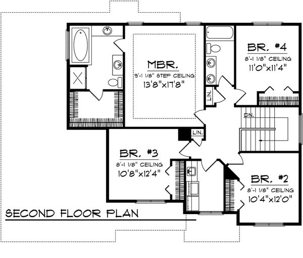 Mediterranean Floor Plan - Upper Floor Plan Plan #70-1095