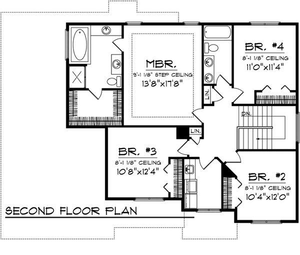 Mediterranean Floor Plan - Upper Floor Plan Plan #70-1095