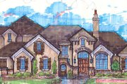 European Style House Plan - 4 Beds 4 Baths 4804 Sq/Ft Plan #135-164 Exterior - Front Elevation