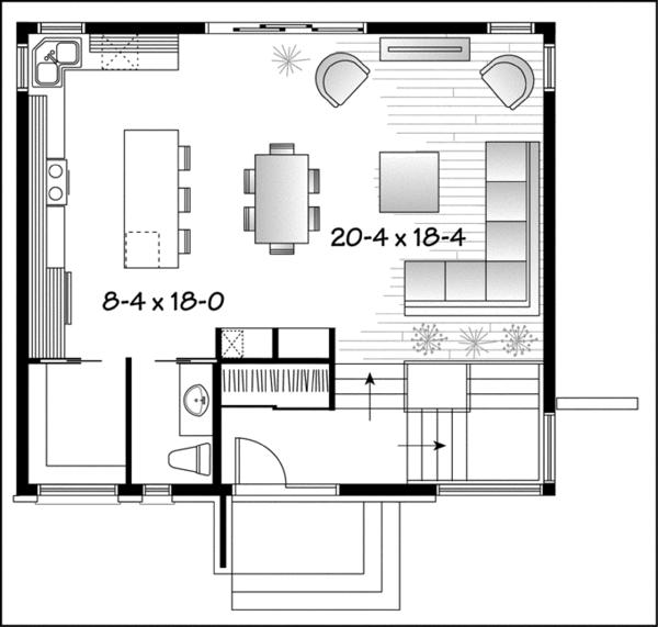 Contemporary Floor Plan - Main Floor Plan Plan #23-2537
