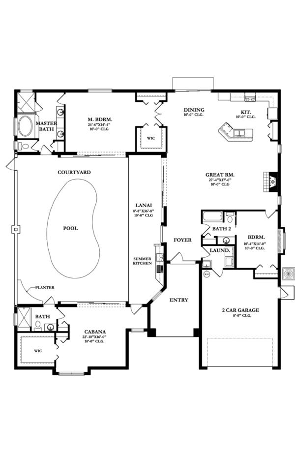 Mediterranean Floor Plan - Main Floor Plan Plan #1058-43