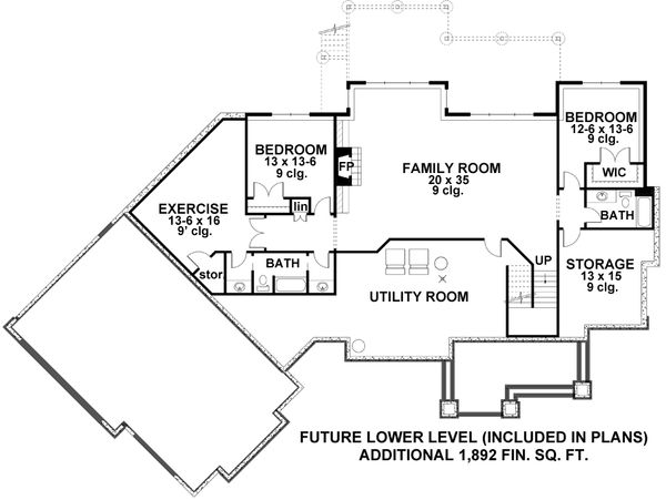Craftsman Floor Plan - Lower Floor Plan Plan #51-579