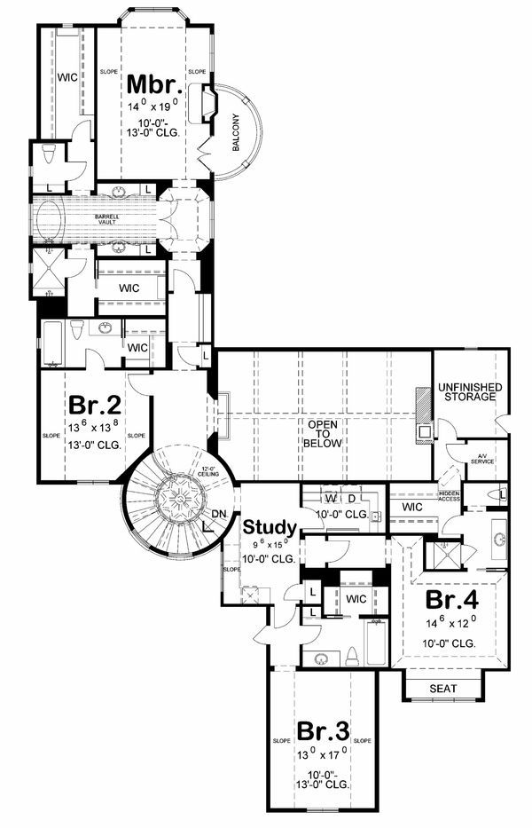 European Floor Plan - Upper Floor Plan Plan #20-2171