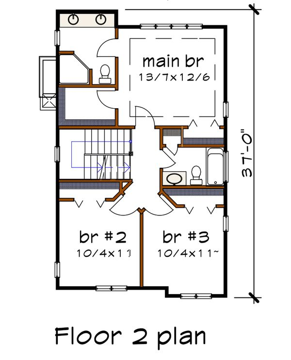 Craftsman Floor Plan - Upper Floor Plan #79-295