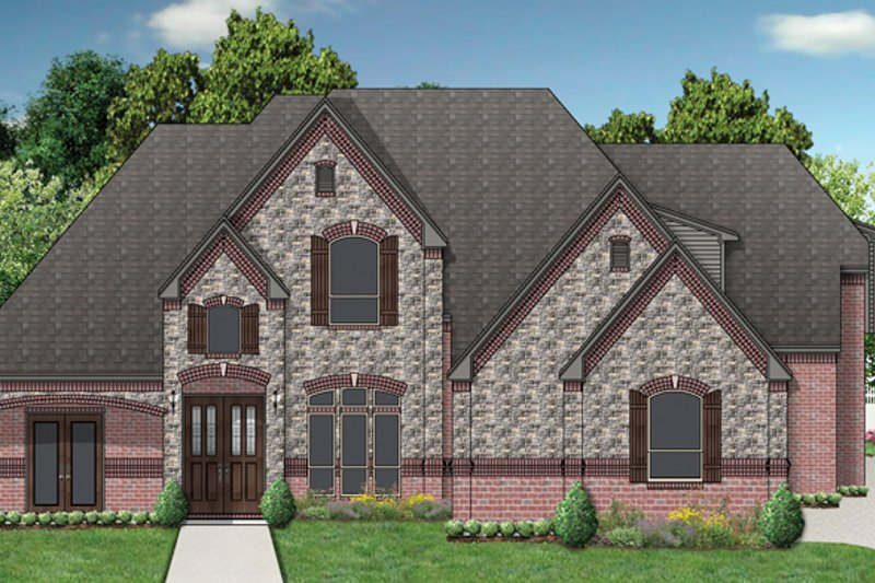 Home Plan - Tudor Exterior - Front Elevation Plan #84-740