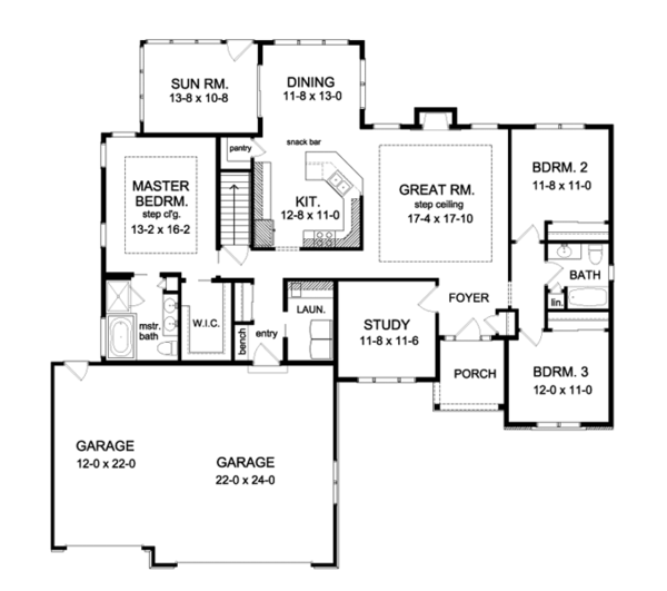 Ranch Floor Plan - Main Floor Plan Plan #1010-76