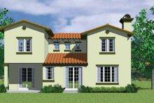 House Blueprint - Adobe / Southwestern Exterior - Rear Elevation Plan #72-1126