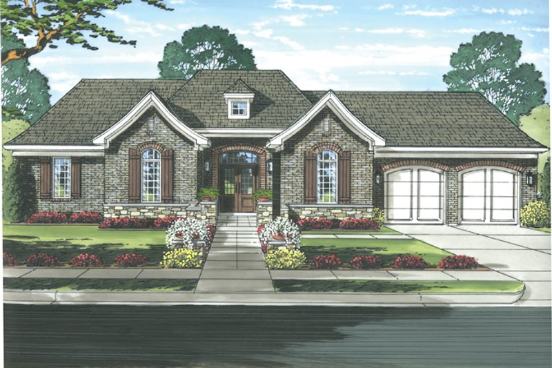 Country Exterior - Front Elevation Plan #46-821