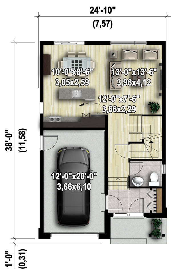 Contemporary Floor Plan - Main Floor Plan #25-4377