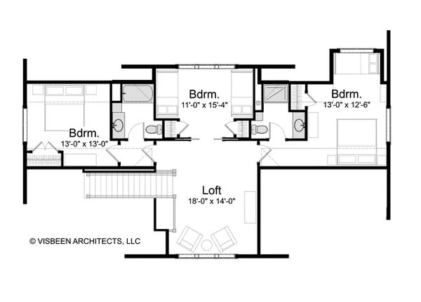 Log Floor Plan - Upper Floor Plan Plan #928-263