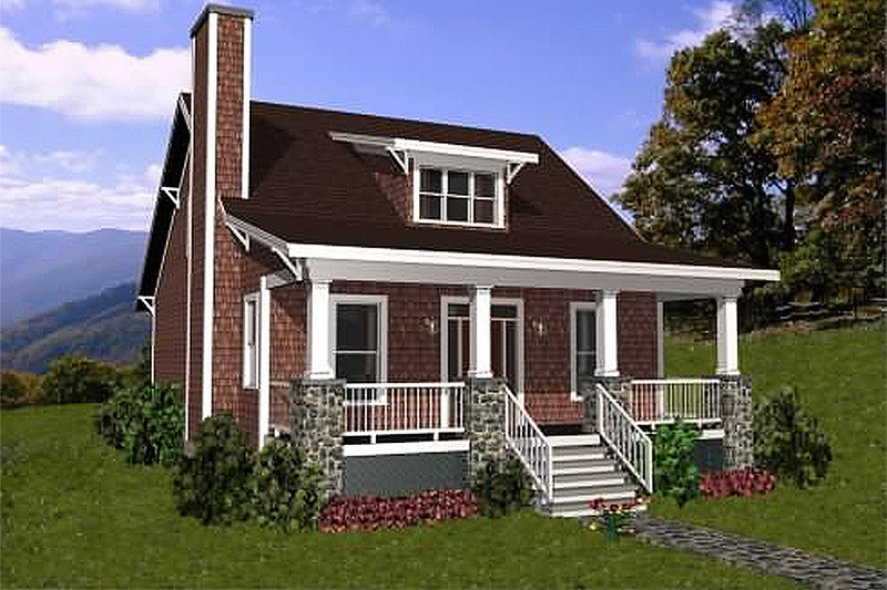 Bungalow style, cottage design, front elevation