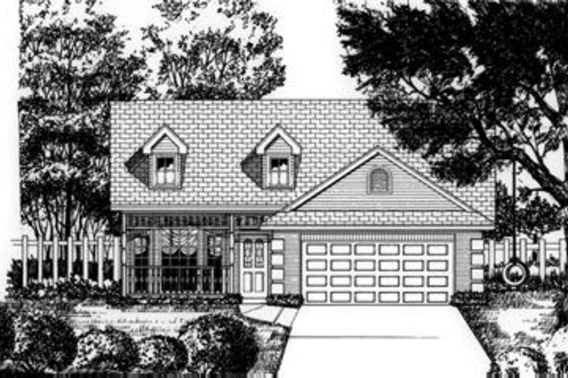 Traditional Style House Plan - 3 Beds 2 Baths 1710 Sq/Ft Plan #62-103 Exterior - Front Elevation
