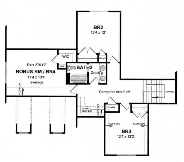 Craftsman Floor Plan - Upper Floor Plan Plan #316-282