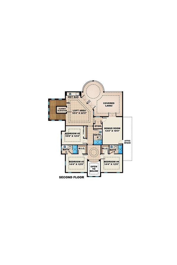 Beach Floor Plan - Upper Floor Plan #27-525