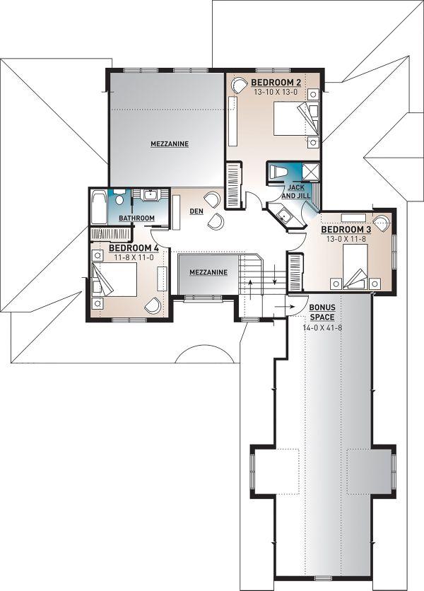 Architectural House Design - Farmhouse Floor Plan - Upper Floor Plan #23-2693