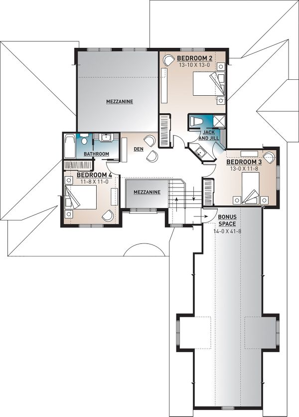 Farmhouse Floor Plan - Upper Floor Plan Plan #23-2693