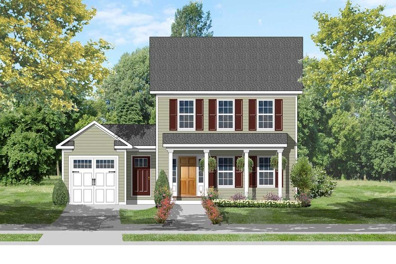 Architectural House Design - Colonial Exterior - Front Elevation Plan #1053-38