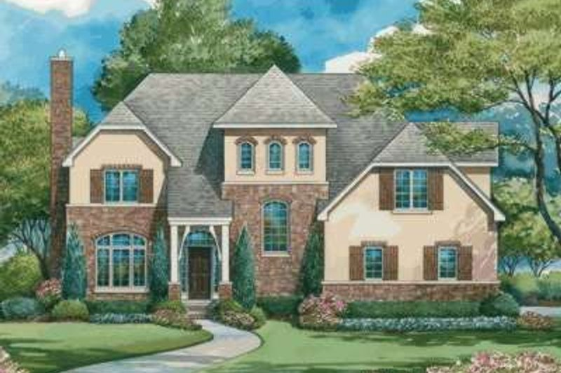 European Exterior - Front Elevation Plan #20-1845 - Houseplans.com