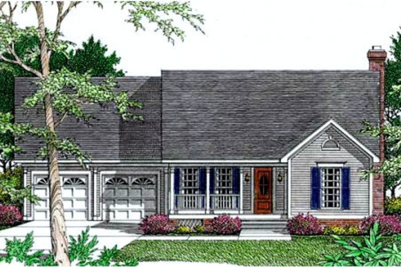 Southern Exterior - Front Elevation Plan #406-212