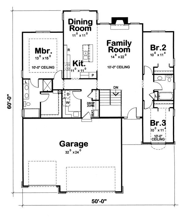 Dream House Plan - Ranch Floor Plan - Main Floor Plan #20-1869
