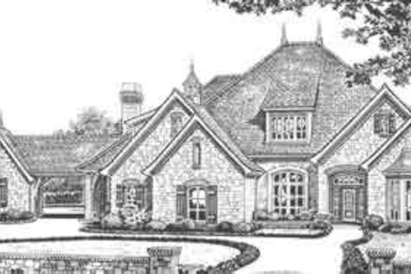 European Style House Plan - 4 Beds 3.5 Baths 3290 Sq/Ft Plan #310-328 Exterior - Front Elevation