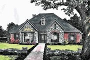 European Style House Plan - 3 Beds 2.5 Baths 2214 Sq/Ft Plan #310-936 Exterior - Front Elevation