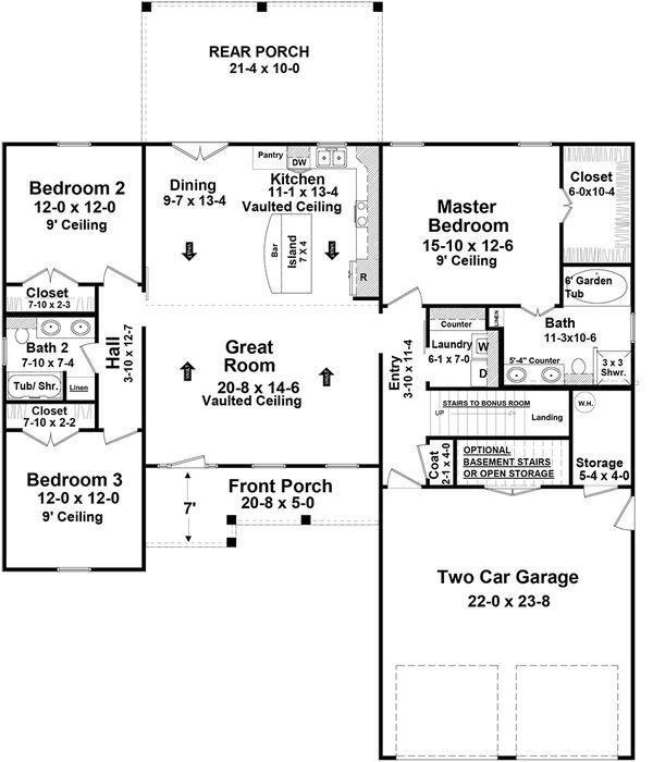 House Design - Country Floor Plan - Main Floor Plan #21-460
