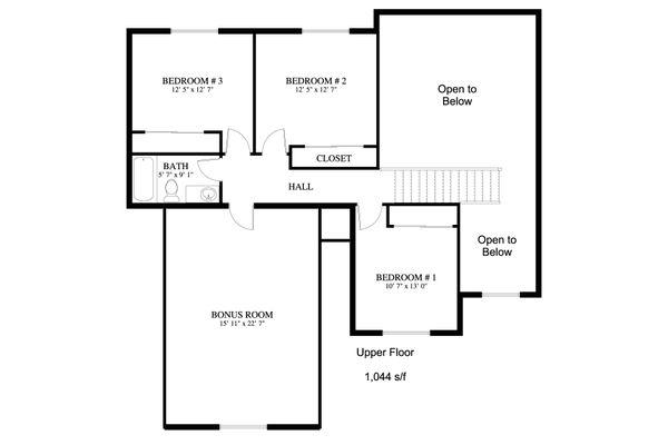 Traditional Floor Plan - Upper Floor Plan Plan #1060-25